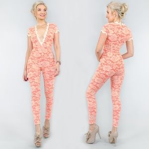 Coral Pink Lace Jumpsuit